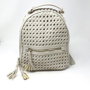 Zara Faux Vegan Faux Leather Woven Backpack Purse